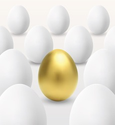 Unique one golden egg and many white eggs. EPS-10