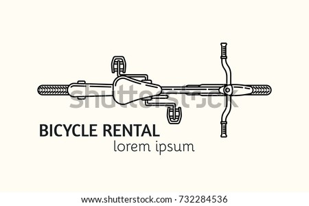 Unique outline style vector logotype template with bicycle view from top. Editable Stroke Vector Icon. Clean and minimalist symbol perfect for your business. Active lifestyle concept.