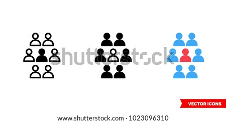 Unique person symbols icon of 3 types: color, black and white, outline. Isolated vector sign symbol.