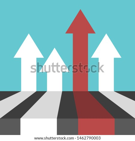Unique red arrow among many white ones on turquoise blue. Perspective view. Competition, uniqueness and achievement concept. Flat design. EPS 8 vector illustration, no transparency, no gradients