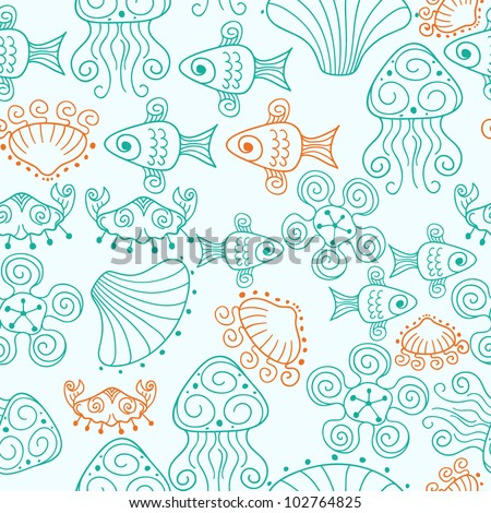 Unique seamless beach pattern with fishes, shells, crabs etc. Vector illustration. Seamless pattern can be used for wallpaper, pattern fills, web page background, surface textures.