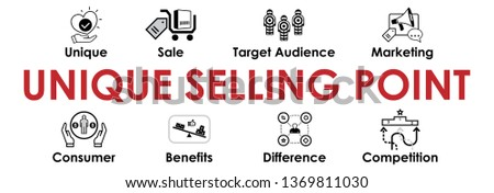 Unique selling point illustration with icons set. Header for website and social media: unique, sale, target audience, consumer, benefits, difference, competition. Vector design.
