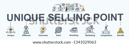 Unique selling proposition banner web icon for business and marketing, USP, consumer, competition, branding and different. Minimal vector infographic.