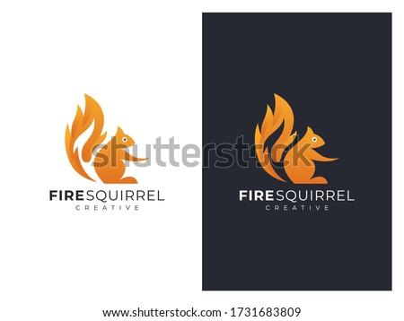 unique squirrel and fire logo