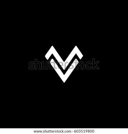 Unique stylish connected black and white MV VM M V initial based icon logo Stock fotó ©