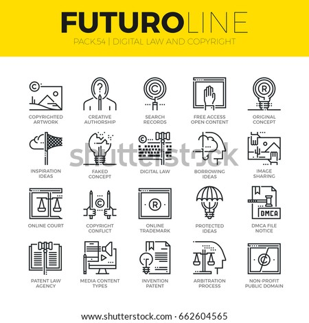 Unique thin line icons set of digital law, copyright idea problems. Premium quality outline symbol collection. Modern linear pictogram pack of metaphors. Stroke vector logo concept for web graphics.
