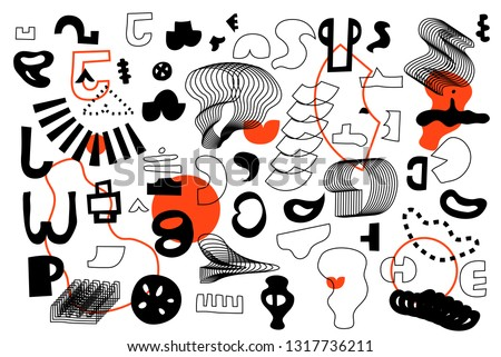 Unique Trendy Artistic Collection Of Abstract Shapes In Handmade Technique. Bright bold design elements Set for Motion, Animation, Magazine, Billboard etc