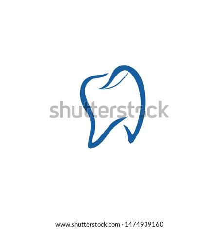 unique unique dental logo in blue, with few leaves