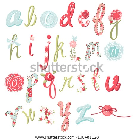 Unique vector flower font Amazing hand drawn Alphabet.