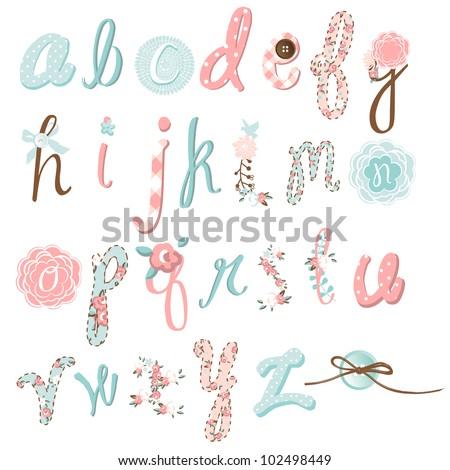 Unique vector flower font. Amazing hand drawn Alphabet.