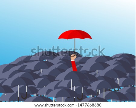 Uniqueness and individuality. Man holding a red umbrella among people with black umbrellas. Standing out from the crowd.Difference concept. Vector illustration flat design. Isolated on background.