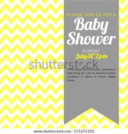 Unisex Baby Shower Invitation - yellow and white chevron background    Unisex Baby Backgrounds
