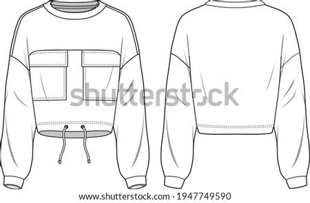 Unisex Drawstring Hem, Pocket Front Crop Sweatshirt. Technical fashion sweatshirt illustration. Flat apparel sweat template front and back, white color. Unisex CAD mock-up. Photo stock ©