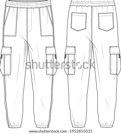 Unisex High Waisted, Side Pocket Cargo Joggers Pants. Joggers technical fashion illustration with elastic waistband. Flat apparel joggers template front and back, white colour. Unisex CAD mock up.