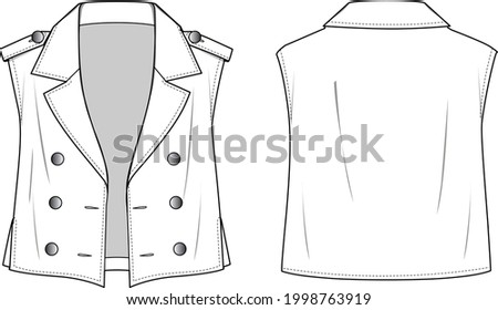 Unisex Military Waistcoat. Waistcoat technical fashion illustration. Flat apparel vest template front and back, white color. Unisex CAD mock-up. Stock photo ©