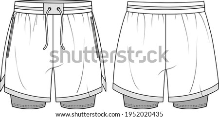 Unisex Performance Running Shorts- Shorts technical fashion illustration. Flat apparel shorts template front and back, white colour. Unisex CAD mock-up. Сток-фото ©