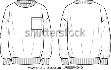 Unisex Pocket Front Detail Oversized Sweatshirt. Technical fashion Sweatshirt illustration. Flat apparel sweat template front and back, white color. Unisex CAD mock-up. Foto stock ©