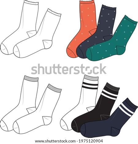 Unisex Socks Set. Technical fashion socks illustration. Flat apparel socks template front and back, white colour. Unisex CAD mock-up.