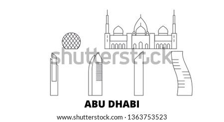 United Arab Emirates, Abu Dhabi City line travel skyline set. United Arab Emirates, Abu Dhabi City outline city vector illustration, symbol, travel sights, landmarks.