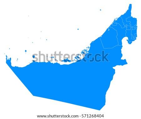 united Arab Emirates blue map