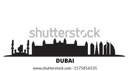 United Arab Emirates, Dubai City city skyline isolated vector illustration. United Arab Emirates, Dubai City travel black cityscape