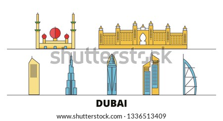 United Arab Emirates, Dubai City flat landmarks vector illustration. United Arab Emirates, Dubai City line city with famous travel sights, skyline, design.
