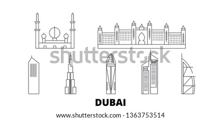 United Arab Emirates, Dubai City line travel skyline set. United Arab Emirates, Dubai City outline city vector illustration, symbol, travel sights, landmarks.