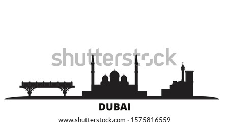 United Arab Emirates, Dubai city skyline isolated vector illustration. United Arab Emirates, Dubai travel black cityscape