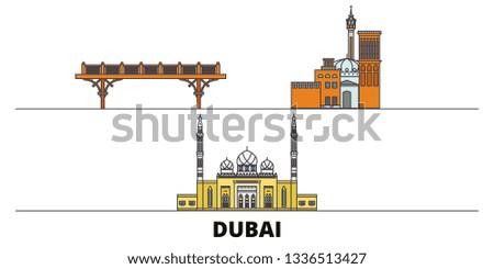 United Arab Emirates, Dubai flat landmarks vector illustration. United Arab Emirates, Dubai line city with famous travel sights, skyline, design.