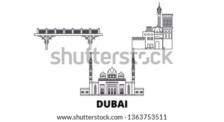 United Arab Emirates, Dubai line travel skyline set. United Arab Emirates, Dubai outline city vector illustration, symbol, travel sights, landmarks.