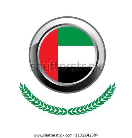 united arab emirates flag button. united arab emirates flag icon. Vector illustration of  united arab emirates flag on white background.