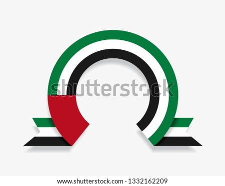 United Arab Emirates flag rounded ribbon abstract background. Vector illustration.