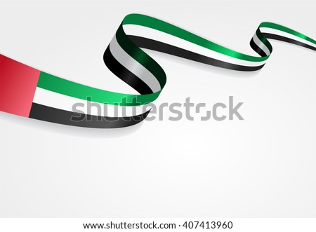 United Arab Emirates flag wavy abstract background. Vector illustration.