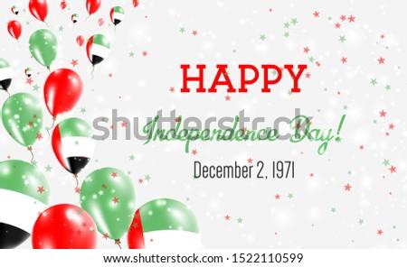 United Arab Emirates Independence Day Greeting Card. Flying Balloons in United Arab Emirates National Colors. Happy Independence Day United Arab Emirates Vector Illustration.