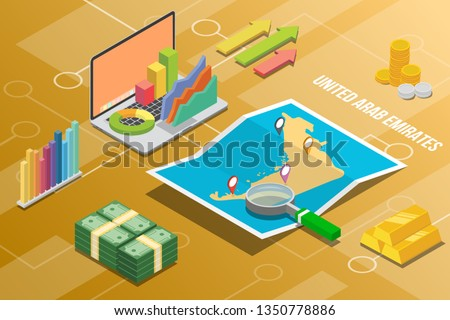 united arab emirates isometric business economy growth country with map and finance condition - vector