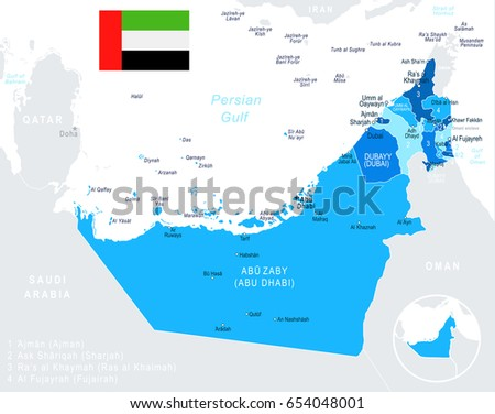 Vector de los emiratos rabes unidos mapa descargue grficos y united arab emirates map and flag highly detailed vector illustration gumiabroncs Choice Image