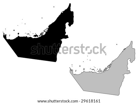 United Arab Emirates map. Black and white. Mercator projection.