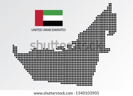 United Arab Emirates map design square with flag United Arab Emirates.