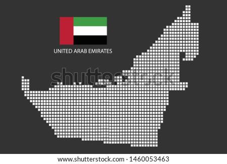 United Arab Emirates map design white square, black background with flag United Arab Emirates.
