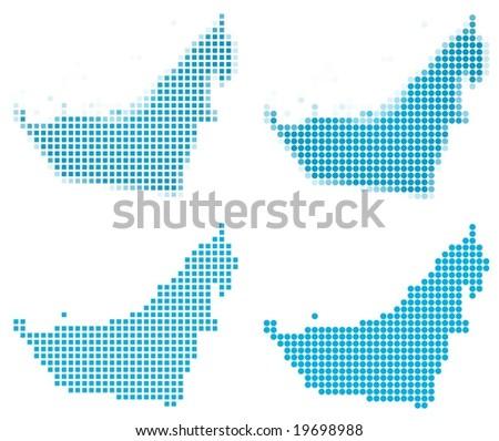 United Arab Emirates map mosaic set. Isolated on white background.