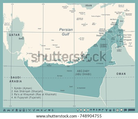 United arab emirates map download free vector art stock united arab emirates map vintage detailed vector illustration gumiabroncs Image collections