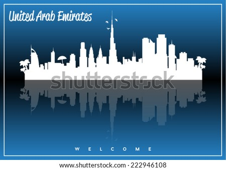 United Arab Emirates skyline silhouette vector design on parliament blue and black background