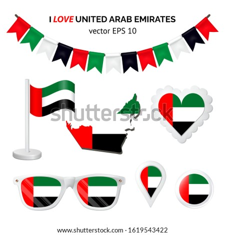 United Arab Emirates symbols attributes. Heart, flags, glasses, buttons and garlands with civil and United Arab Emirates state colors. Vector illustration for your graphic design.
