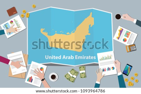united arab emirates uae country growth nation team discuss with fold maps view from top vector illustration