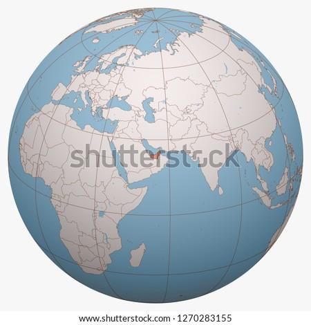 United Arab Emirates (UAE) on the globe. Earth hemisphere centered at the location of the United Arab Emirates. United Arab Emirates map.