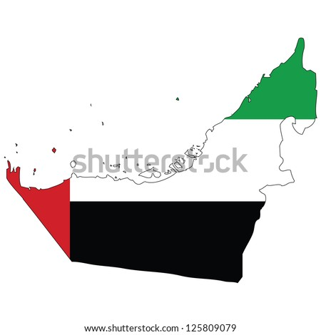 United Arab Emirates vector map with the flag inside.