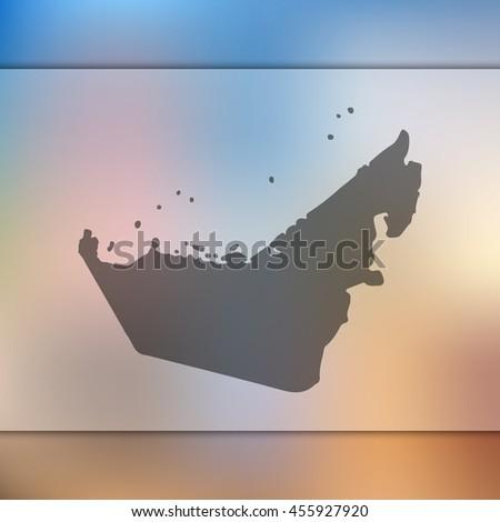 united arabian emirates map on