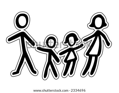 stock vector : United Family Icon in black and white - Vector