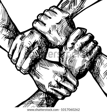 united hands together ink...
