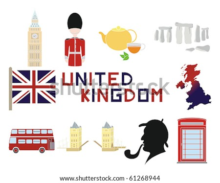 United Kingdom and British icons in a vector illustration